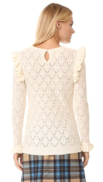 TSE Cashmere x Claudia Schiffer Ruffle Long Sleeve Pullover