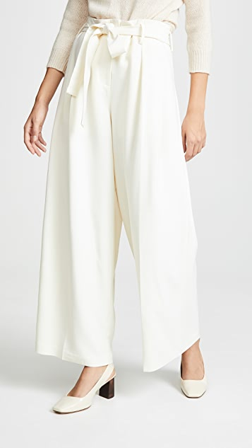 TSE Cashmere Pleated Pants with Belt