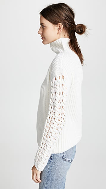 TSE Cashmere Cashmere Turtleneck with Braided Cording Sleeves