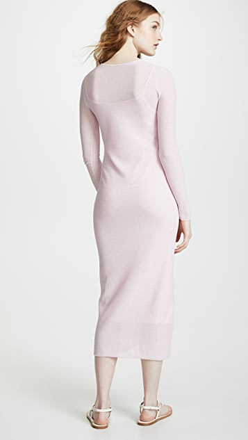 TSE Cashmere Ruched Side Long Sleeve Dress