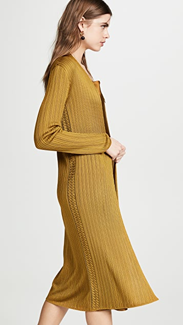 TSE Cashmere Cable Framed Cardigan with Belt