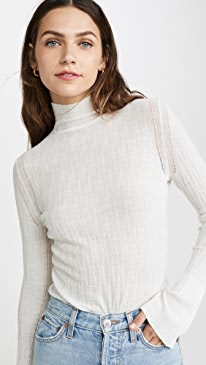 Smocked Cable Turtleneck
