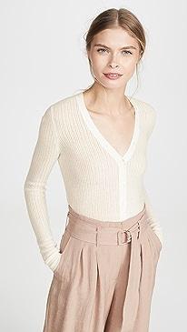 Pointelle Henley Sweater