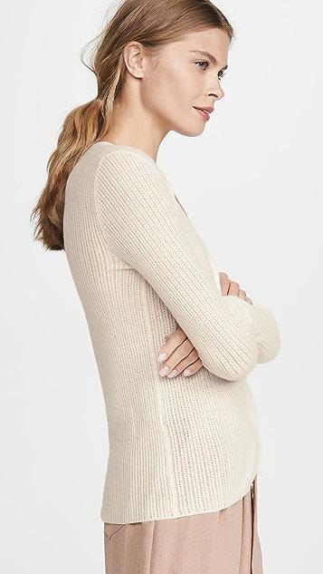 TSE Cashmere Pointelle Henley Sweater