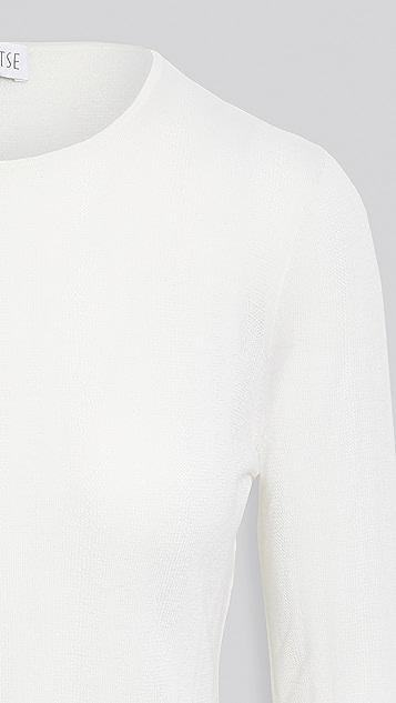 TSE Cashmere 精细开司米羊绒蕾丝缝线圆领