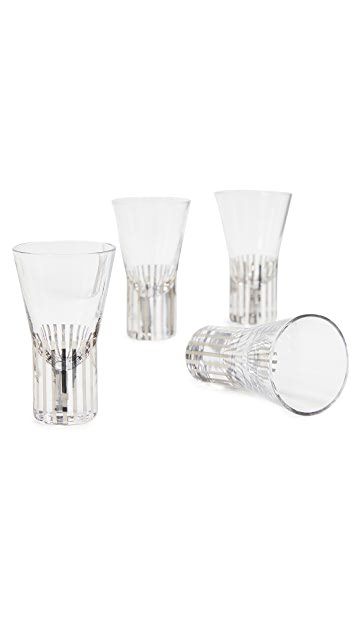 Tom Dixon Tank Shot Glasses Platinum Stripe Set of 4