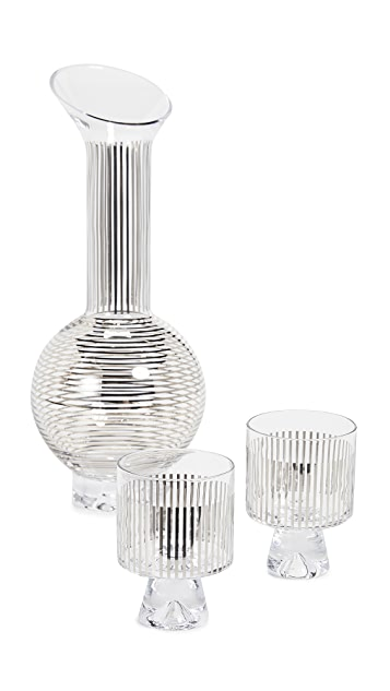 Tom Dixon Tank Jug Set with Platinum Stripe