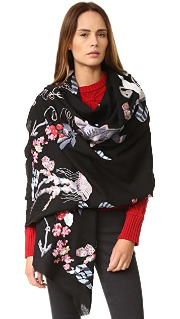 Temperley London Sail Embroidered Shawl