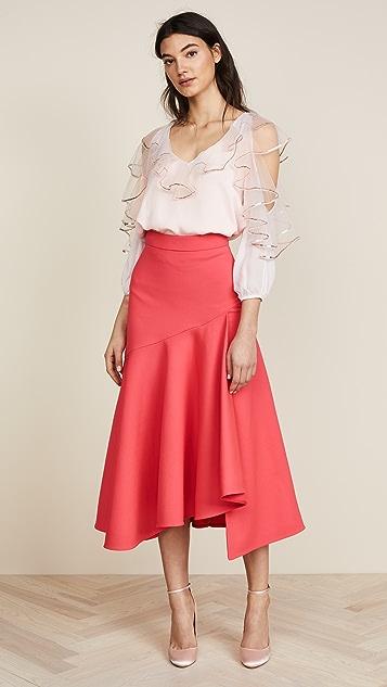Temperley London Mercury Plain Ruffle Skirt