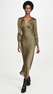 The Fifth Label Goldie Check Long Sleeve Midi Dress