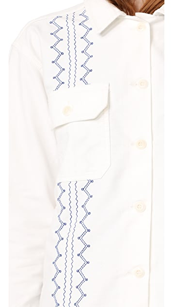 THE GREAT. The Embroidered Army Shirt Jacket