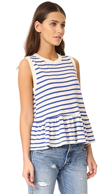 THE GREAT. The Sleeveless Ruffle Tee