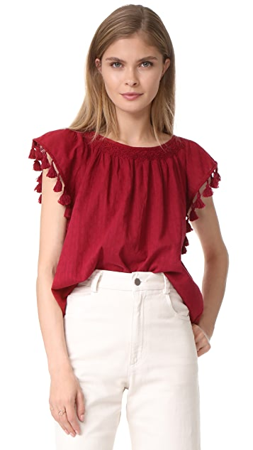 THE GREAT. The Tassel Flutter Top