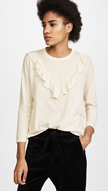 THE GREAT. The Tuxedo Ruffle Tee