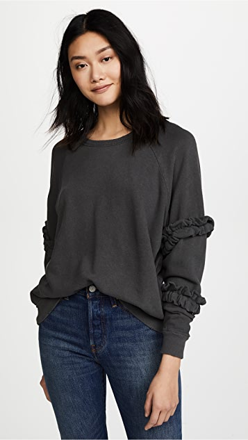 THE GREAT. The Frill Sleeve Sweatshirt