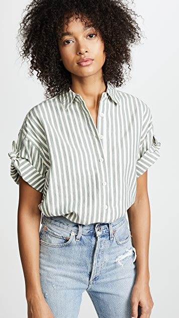 THE GREAT. The Tie Sleeve Big Shirt - Green Stripe