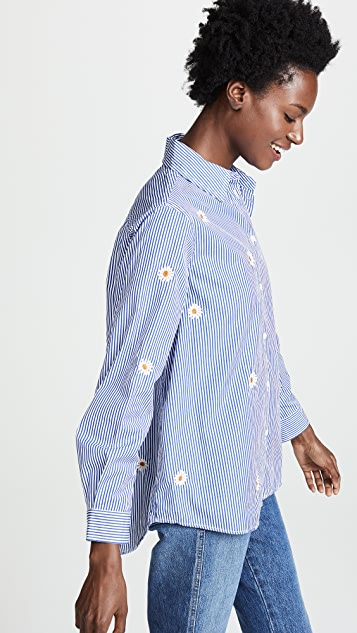 THE GREAT. Oversized Swing Oxford Top