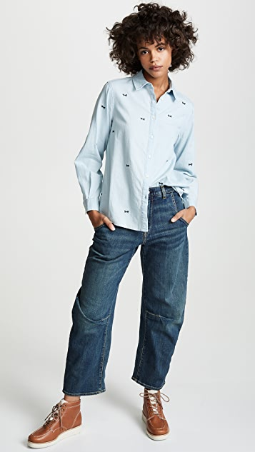 THE GREAT. The Oversized Swing Button Down