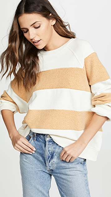 THE GREAT. Striped Slouchy Sweatshirt
