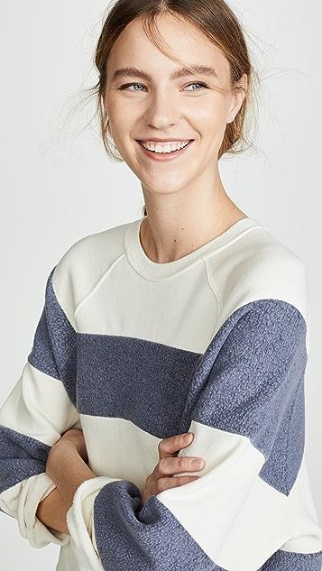 THE GREAT. Striped Slouchy Sweatshirt