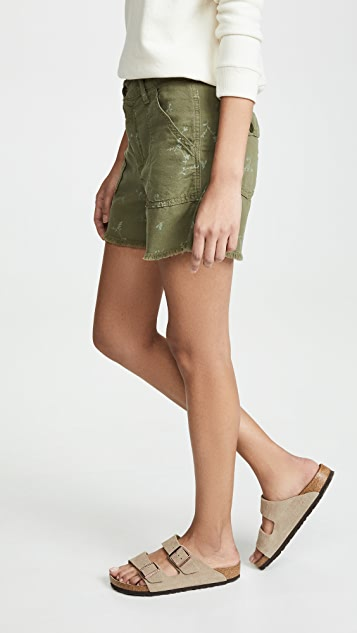 THE GREAT. Frayed Army Shorts