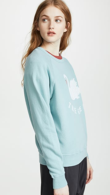 THE GREAT. College Sweatshirt With Swan Graphic