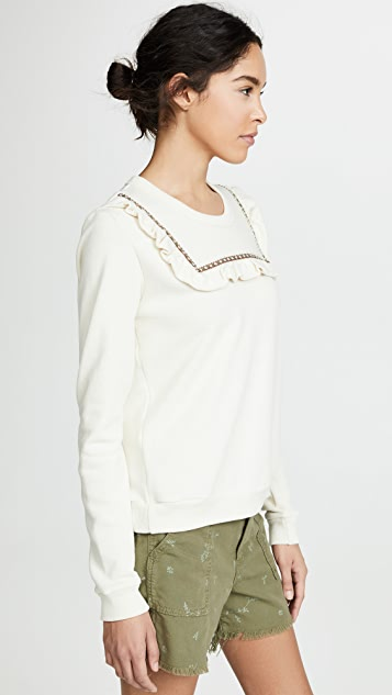 THE GREAT. The Ribbon Shrunken Bib Sweatshirt
