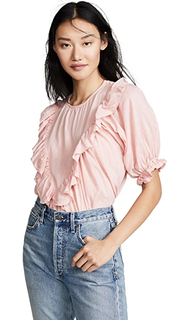 THE GREAT. The Ruffle Triangle Top