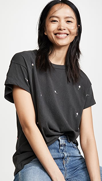 THE GREAT. The Boxy Crew Tee with Rose Embroidery
