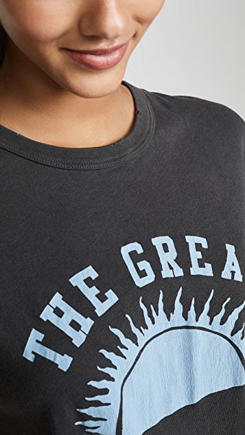 THE GREAT. The Boxy Crew Tee with Horizon Graphic