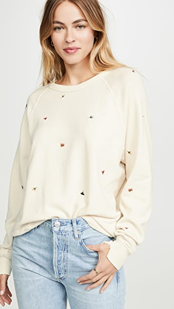 THE GREAT. The College Sweatshirt with Multi Poppy Embroidery