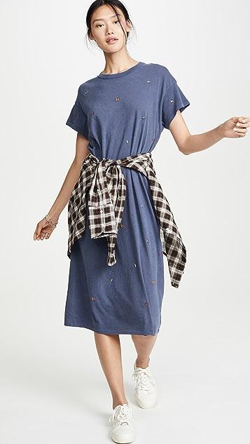 THE GREAT. Платье свободного кроя с разноцветными вышитыми маками
