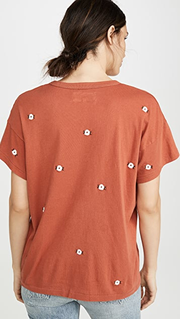 THE GREAT. Boxy Crew Tee with Wildflower Embroidery