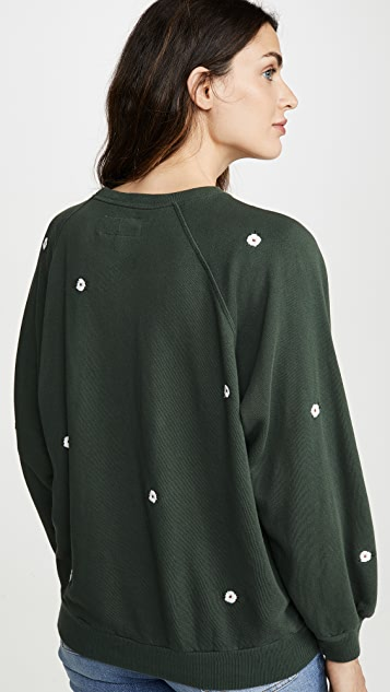 THE GREAT. Bubble Sweatshirt with Wildflower Embroidery