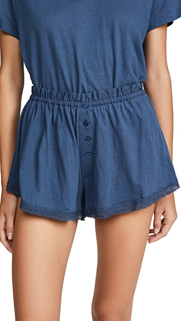 THE GREAT. Sleep Lace Tap Shorts