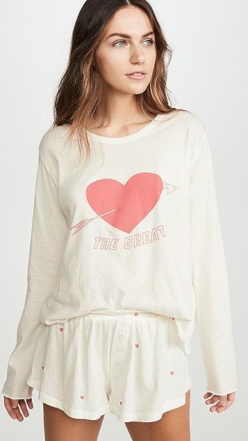 THE GREAT. Пижамная футболка с длинными рукавами и сердечком
