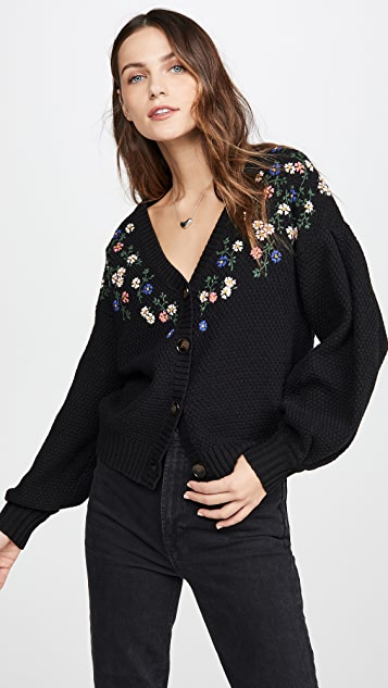 THE GREAT. The Pleat Sleeve Embroidery Cardigan