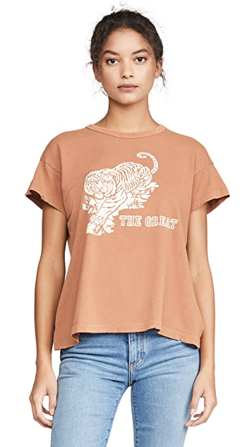 THE GREAT. The Boxy Crew Tee With Tiger Graphic