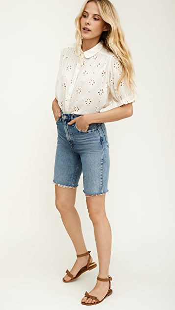 THE GREAT. The Eyelet Kerchief Top.