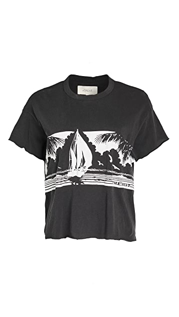 THE GREAT. The Crop Tee with Paradise Graphic. I8PVUaDR