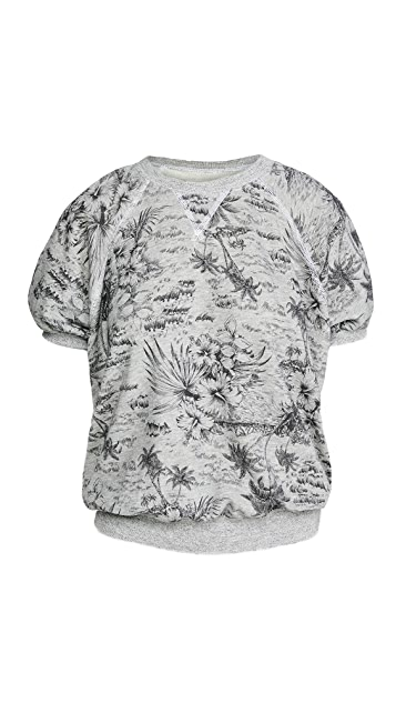 THE GREAT. The Short Sleeve Puff Sweatshirt.