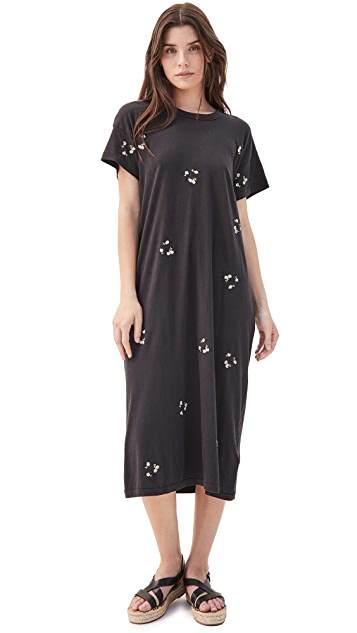 THE GREAT. The Boxy Dress with Daisy Bouquet Embroidery
