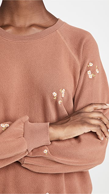 THE GREAT. The Bubble Sweatshirt with Daisy Bouquet Embroidery