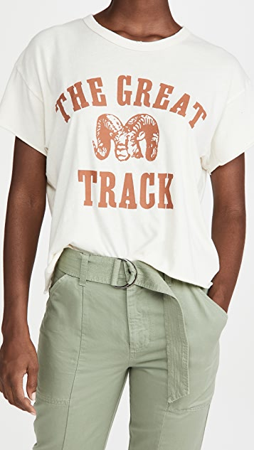 THE GREAT. The Crop Tee with Ram Graphic