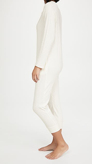THE GREAT. The Pointelle Sleeper Jumpsuit