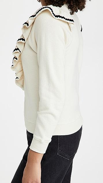 THE GREAT. The Shrunken Ruffle Sweatshirt