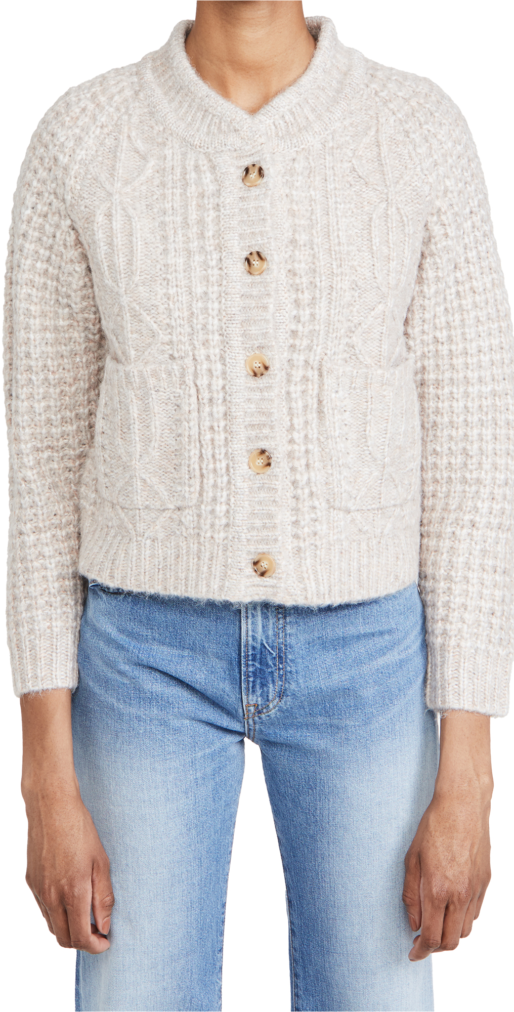 THE GREAT. The Shrunken Cable Cardigan