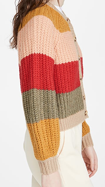 THE GREAT. The Bold Striped Sophomore Cardigan