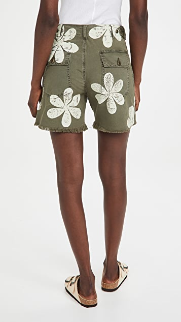 THE GREAT. The Vintage Army Shorts with Daisy Stamp