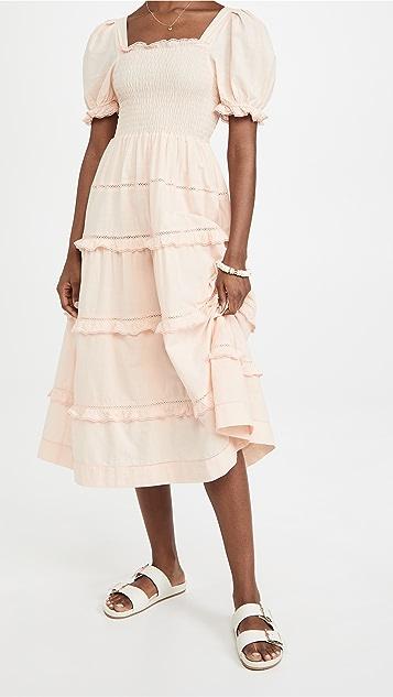 THE GREAT. The Scallop Savanna Dress